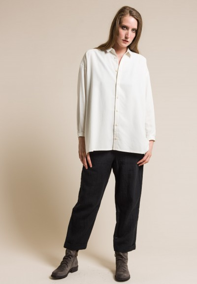 toogood Spun Sandwashed Silk Draughtsman Shirt in Chalk