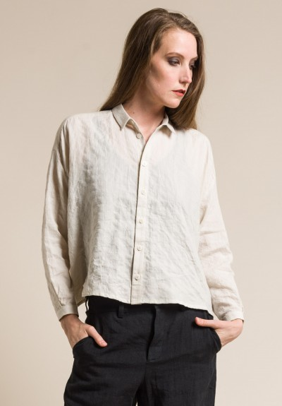 toogood Soft Cotton Short Draughtsman Shirt in Chalk