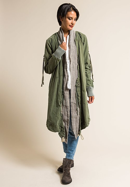 Greg Lauren Army Tent & Antique Linen Kimono Jacket in Army
