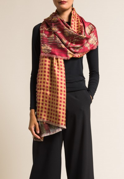 Etro Silk Multi-Printed Scarf in Red/Gold