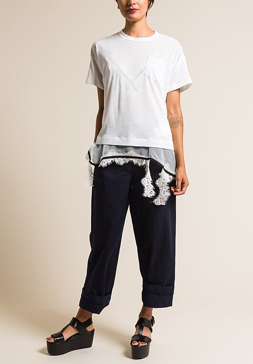 Sacai Lace & Linen Two Layer Jersey Top in White
