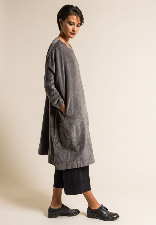 Casey Casey Cotton/Linen Velvet Emmaus Dress in Grey