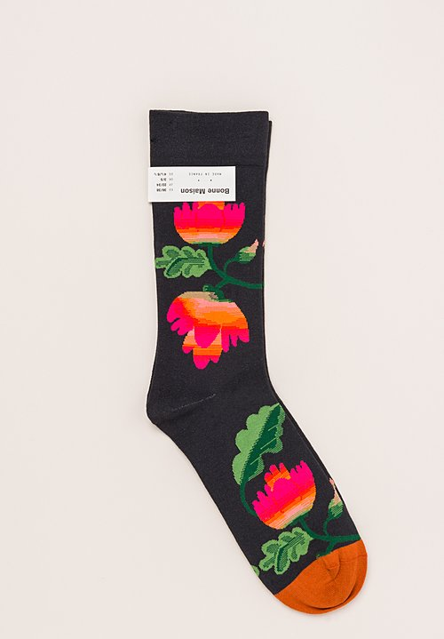 Bonne Maison Calf Length Socks in Flower/Black