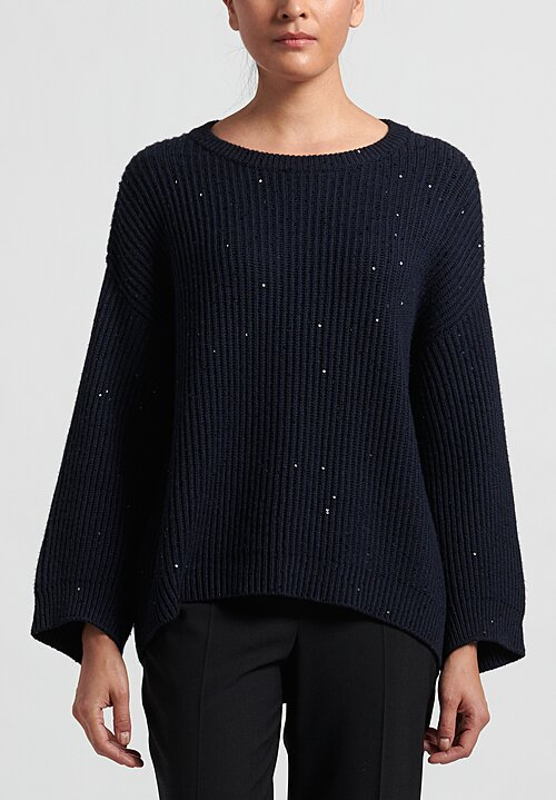 Brunello Cucinelli Cashmere/Silk Relaxed Paillette Sweater in Navy Blue