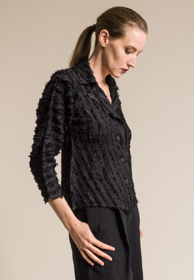 Issey Miyake Flare Textured Frayed Jacket in Black