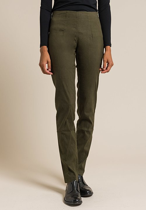 Rundholz Black Label Stretch Linen Tapered Pant in Green
