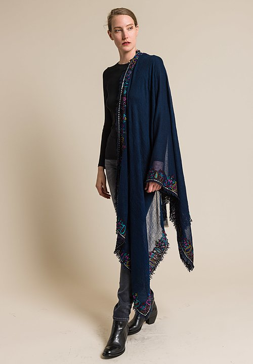 Faliero Sarti Embroidered Lama Scarf in Navy