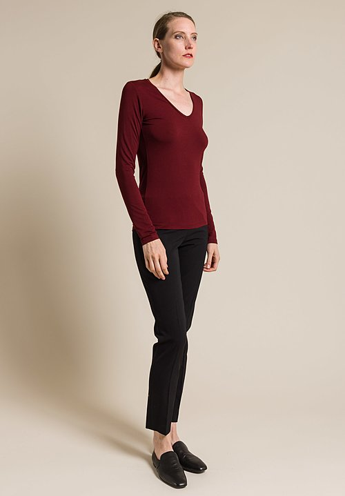 Majestic V-Neck Long Sleeve Top in Bordeaux