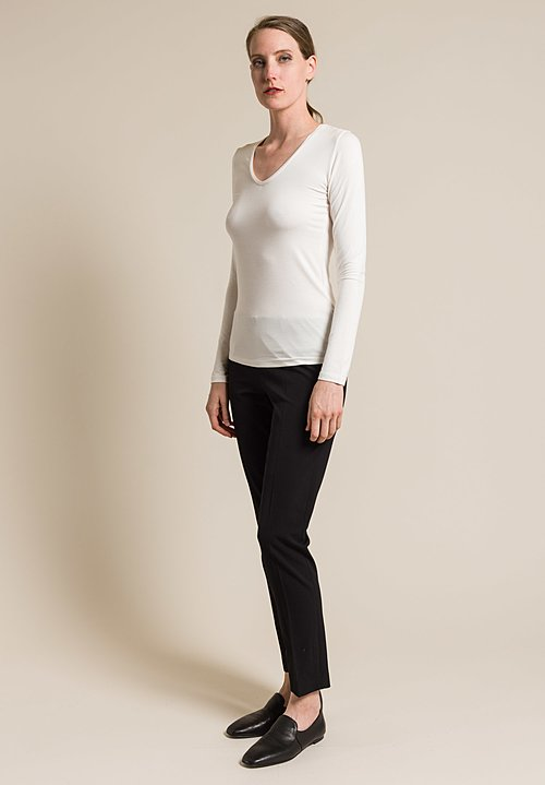 Majestic V-Neck Long Sleeve Top in Milk