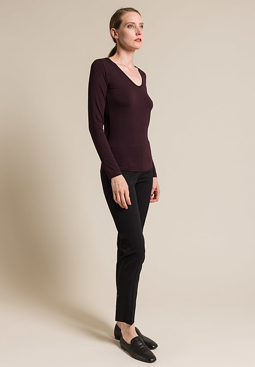Majestic V-Neck Long Sleeve Top in Aubergine