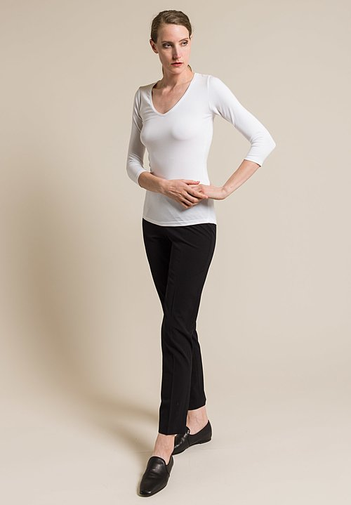 Majestic Soft V-Neck 3/4 Sleeve Tee in Blanc
