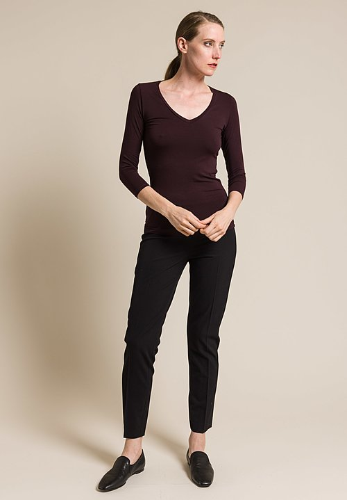 Majestic Soft V-Neck 3/4 Sleeve Tee in Aubergine