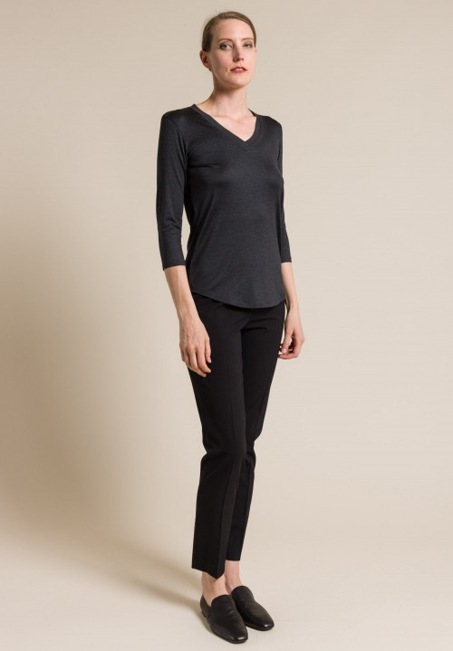 Majestic Silk V-Neck 3/4 Sleeve Top in Anthracite