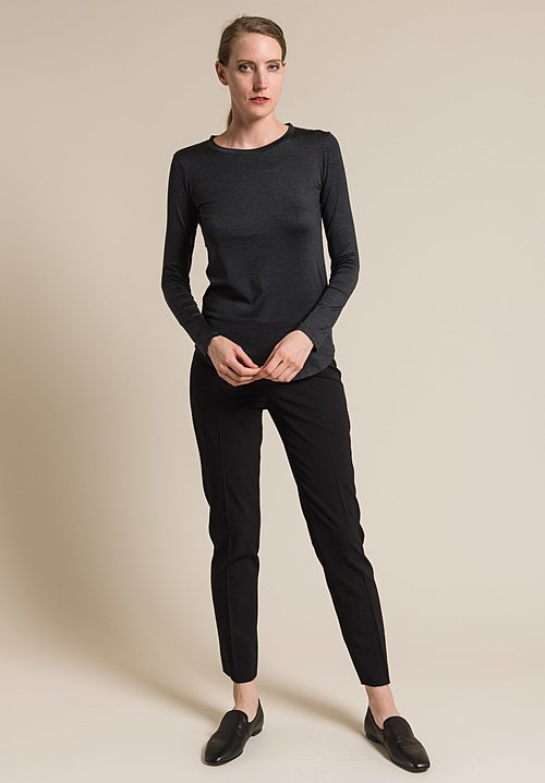 Majestic Silk Crew Neck Long Sleeve Top in Anthracite