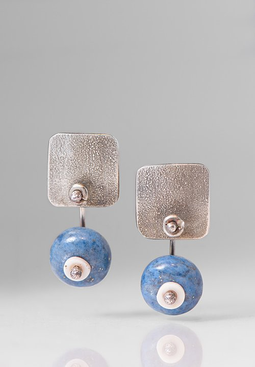 Holly Masterson Lapis Lazuli Disks & Shell Earrings