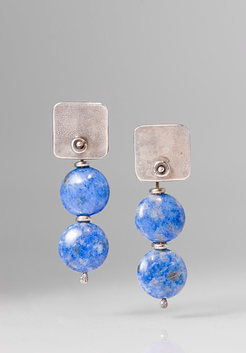 Holly Masterson Lapis Lazuli Disk 2 Drop Earrings