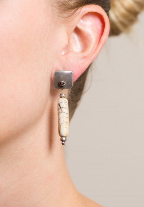 Holly Masterson Long White Tubular Bead Earrings