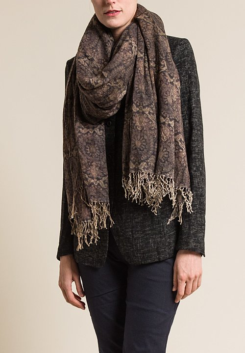 Uma Wang Fleece Wool Natural Print Scarf Brown/Black