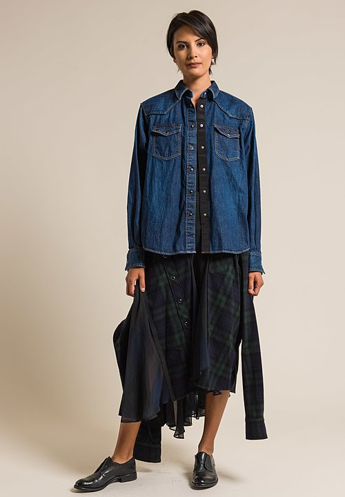 Sacai Mock Shirt Flannel Plaid Skirt in Black/Navy