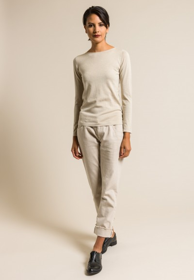 Brunello Cucinelli Bateau Neck Paillette Sweater in Natural