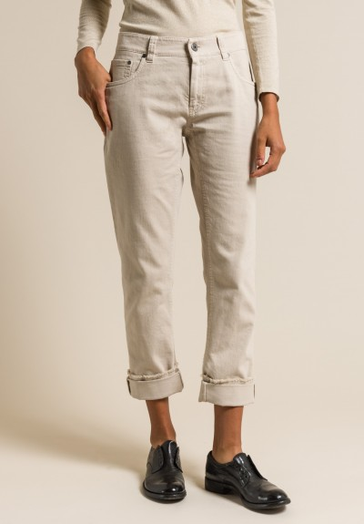 Brunello Cucinelli Frayed Edge Jeans in Beige