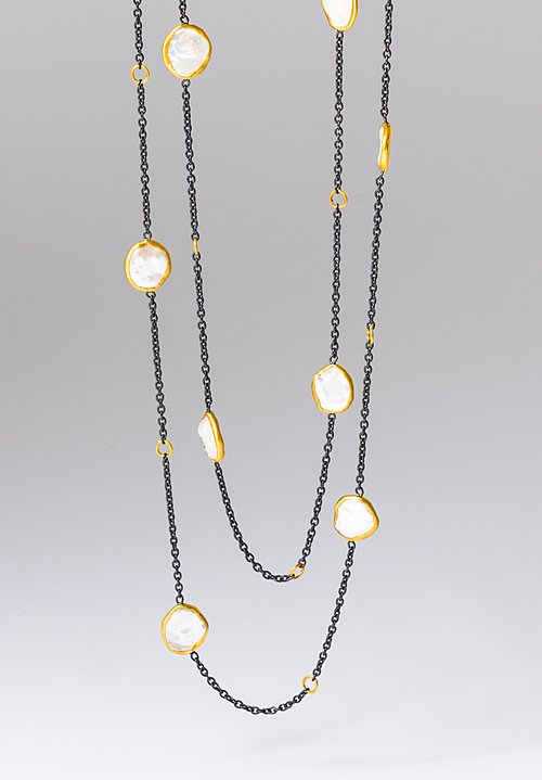 Lika Behar Adjustable 24k, Oxid. Silver, Keshi Pearls Katya Necklace