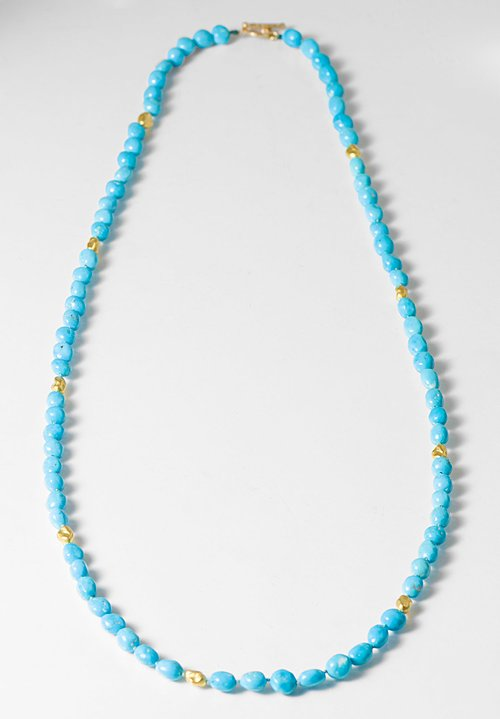 Greig Porter 18K, Knotted Sleeping Beauty Turquoise Bead Necklace