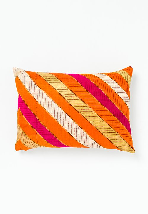 Vintage Saini Rich Phulkari Striped Pillow in Orange