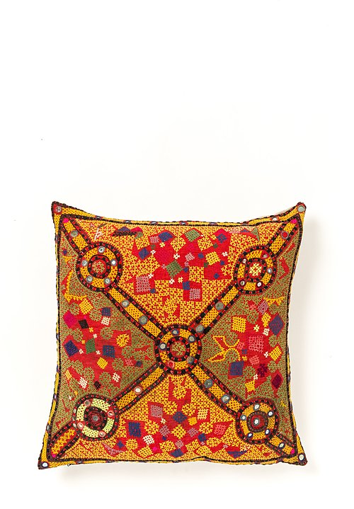 Antique Barmer Tribal Large Pillow in Peela Reshmi Sutra