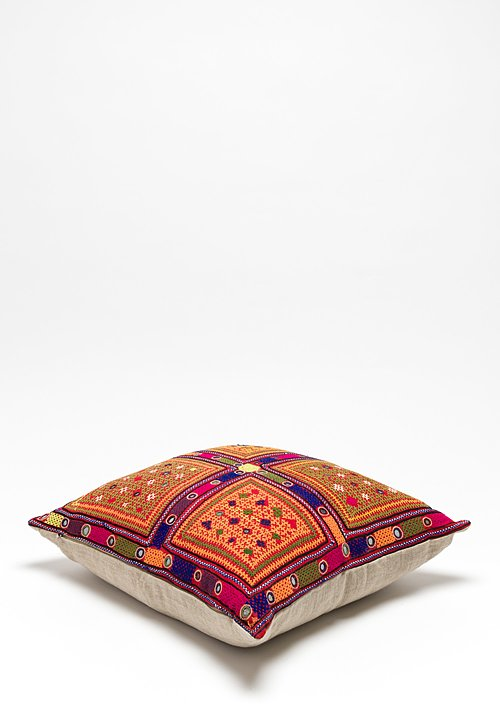 Antique Large Barmer Tribal Pillow in Ravi Reshmi Sutra