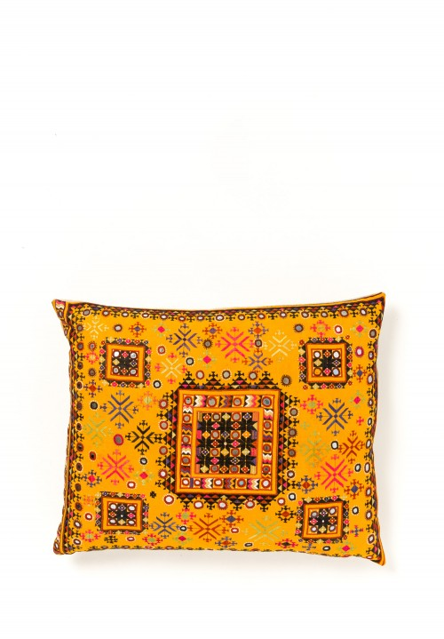 Maldhari Resham Large Pillow in Yellow