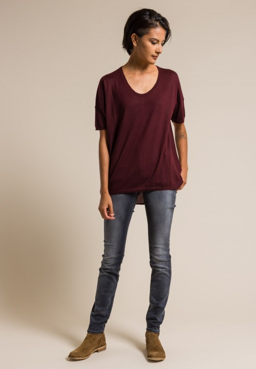 Paychi Guh Worsted Cashmere Boxy Tee in Wine