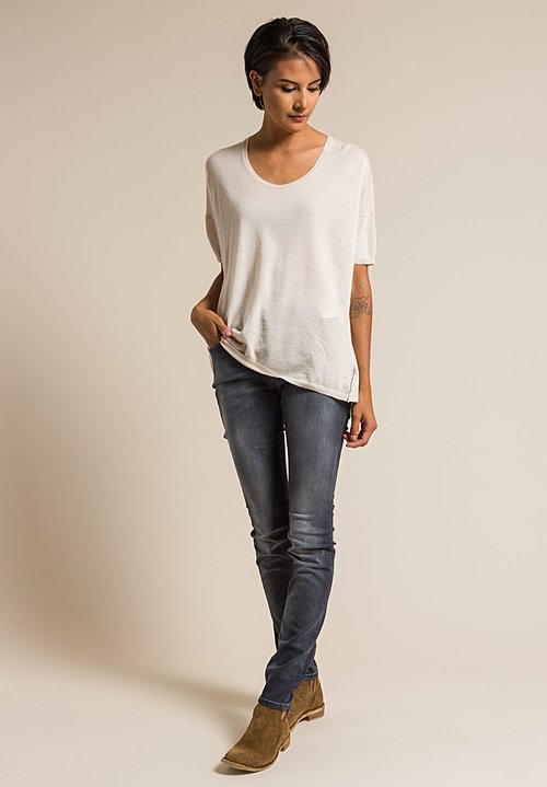 Paychi Guh Worsted Cashmere Boxy Tee in Foam