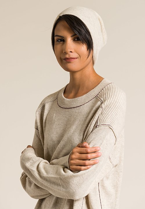 Paychi Guh Cashmere Slouchy Beanie in Oatmeal