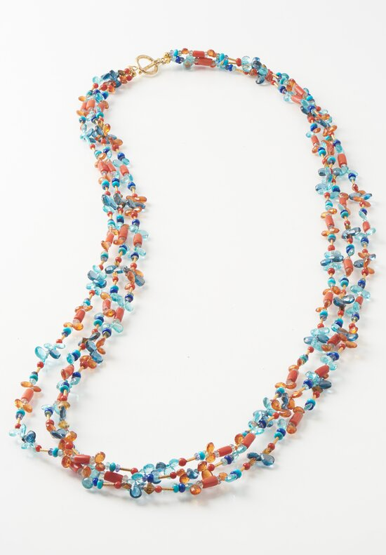 Greig Porter 18k, Coral, Appetite, Garnet, Lapis, and Topaz Necklace