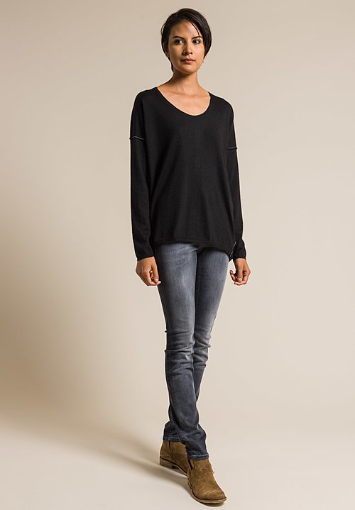 Paychi Guh Long Sleeve Worsted Cashmere Boxy Tee in Black