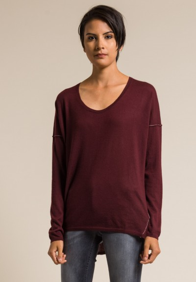 Paychi Guh Long Sleeve Worsted Cashmere Boxy Tee in Wine