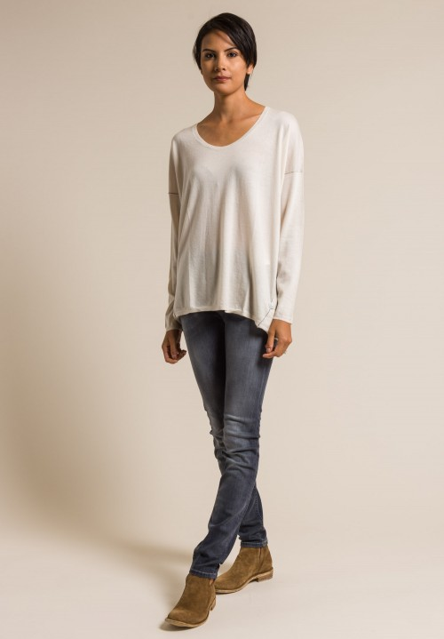 Paychi Guh Long Sleeve Worsted Cashmere Boxy Tee in Foam