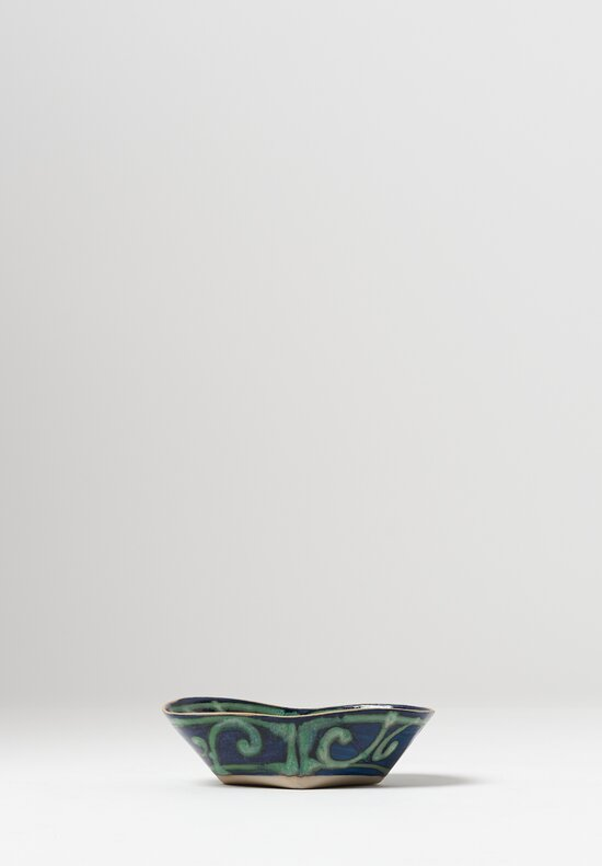 Ceramic Hand Painted Folded Bowl in Blue/Green