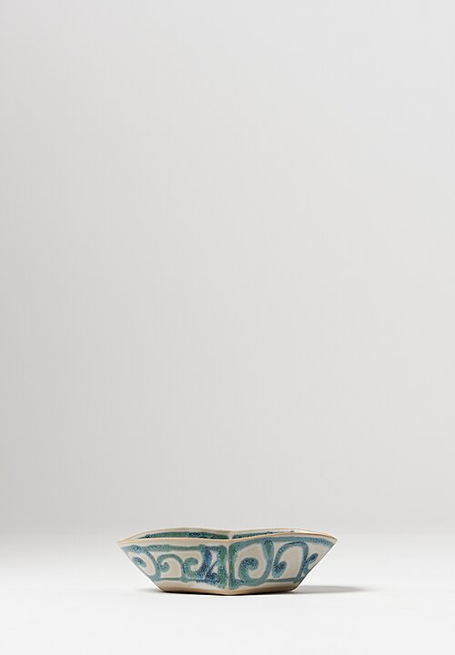 Ceramic Hand Painted Folded Bowls in Cream / Green
