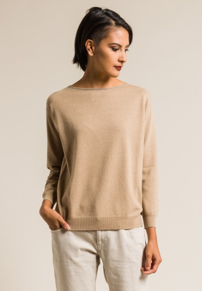 Brunello Cucinelli Cashmere Relaxed Sweater in Honey