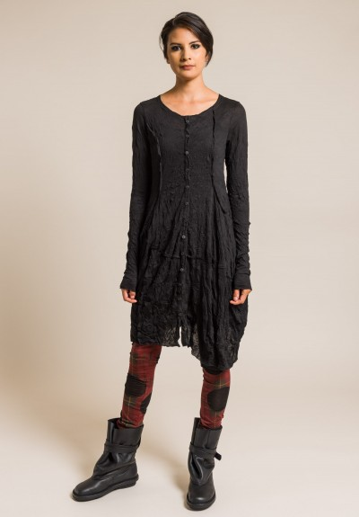 Rundholz Black Label Crinkled Button-Down Tunic in Black