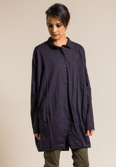 Rundholz Black Label Cotton Oversize Shirt Tunic in Blue