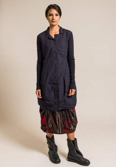 Rundholz Black Label Cotton Button-Down Tunic in Blue