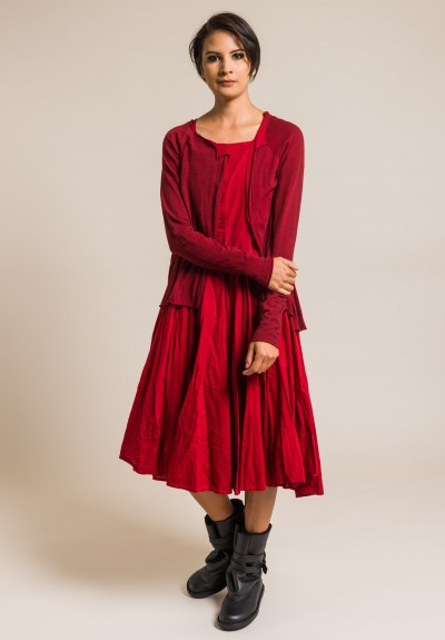 Rundholz Black Label Cotton Mock Cardigan Dress in Red