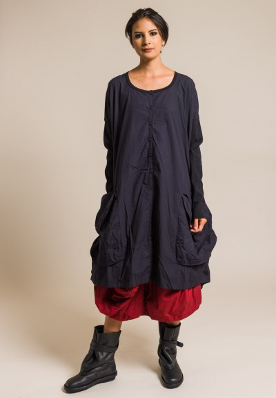 Rundholz Black Label Cotton Oversize Button-Down Dress in Blue