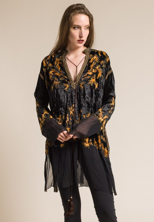 Urban Zen Embroidered Kaftan Tunic in Black/Cognac