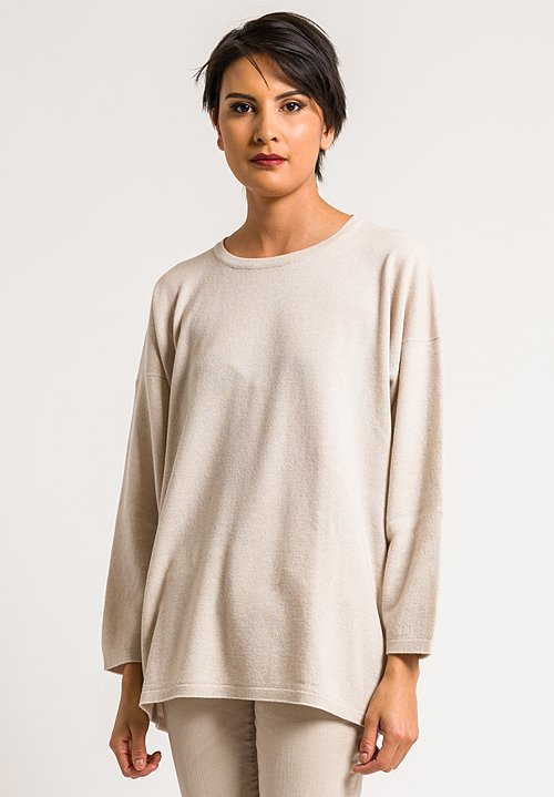 Hania by Anya Cole White Cashmere Sasha Long Crewneck