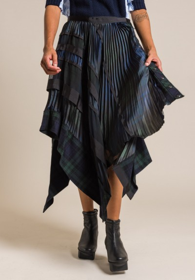 Sacai Flannel Plaid Skirt in Multicolor