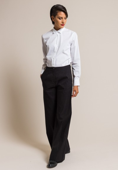 Peter O. Mahler Stretch Wide Leg Pants in Black